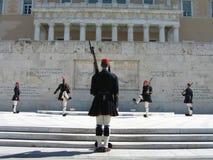 Changement de dispositif protecteur à Athènes Image stock