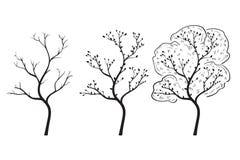 Changement de saison d'arbre Griffonnage tiré par la main illustration stock