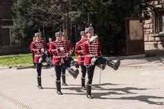 Changement des gardes au bureau du président de la Bulgarie Image libre de droits