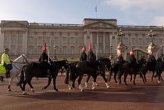 Changement du dispositif protecteur, dispositifs protecteurs de cheval royaux. Photo libre de droits