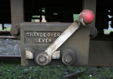 Changeover Lever. Lever control on railway goods carriage stock image