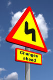 Changes ahead. Roadsign warning on future changes featuring change management Royalty Free Stock Images
