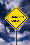 Changes ahead. Sign warning for changes ahead Stock Image