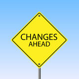Changes Ahead. Image of a Changes Ahead road sign against a blue sky background Royalty Free Stock Photography