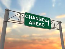 Changes ahead - freeway sign Stock Images