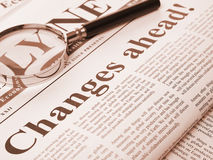 Changes ahead headline in newspaper Stock Photos