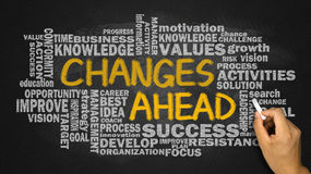 Changes ahead with related word cloud hand drawing on blackboard Stock Photos