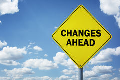 Changes ahead road sign. Concept for business development, progress, choice and direction stock images