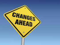 Changes ahead road sign 3d illustration Royalty Free Stock Images