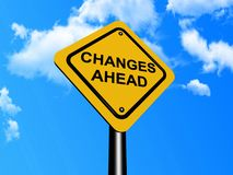 Changes ahead sign. Illustration of changes ahead sign with blue sky and cloudscape background Stock Image