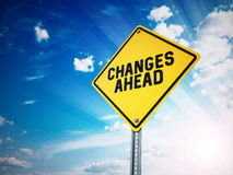 Changes ahead sign against blue sky. 3D illustration.  Royalty Free Stock Images