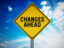 Changes ahead sign against blue sky. 3D illustration.  Stock Photos