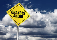 Changes ahead sign. Over cloudy sky Stock Photography