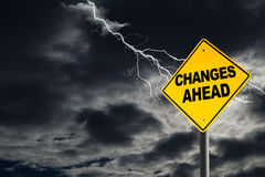 Changes Ahead Warning Sign in Thunderous Background Royalty Free Stock Photography