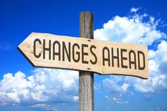 Changes ahead - wooden signpost Stock Photography