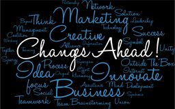 Changes Ahead Word Cloud. On a black background Royalty Free Stock Images