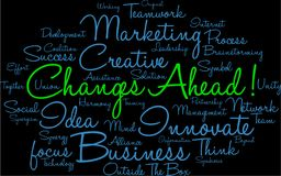 Changes Ahead Word Cloud. On a black background Stock Image