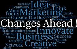 Changes Ahead Word Cloud. On a black background Royalty Free Stock Image