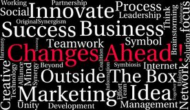 Changes Ahead Word Cloud. On a black background Stock Photo