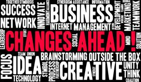 Changes Ahead Word Cloud. Changes Ahead in Business word cloud on a black background Royalty Free Stock Image