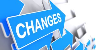 Changes - Label on the Blue Arrow. 3D. Stock Photography