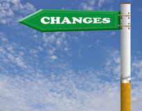 Changes cigarette road sign Stock Images