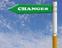 Changes cigarette road sign Stock Images