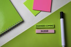 Changes coming in 2019 text on top view office desk table of Business workplace and business objects stock photography