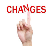 Changes Concept. Word Changes on the top of index finger Royalty Free Stock Photo