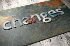 Changes. 3d rendering of the word changes over a rusty surface Stock Photo