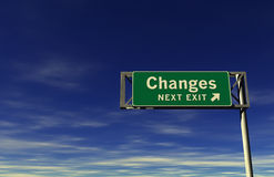 Changes Freeway Exit Sign Royalty Free Stock Photography