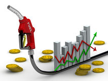Changes in fuel prices. Graph changes in fuel prices, refueling nozzle and coins with the symbol of the American dollar. Financial concept Stock Image