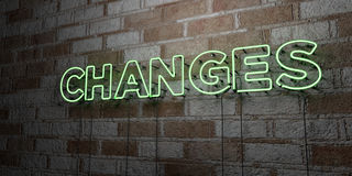 CHANGES - Glowing Neon Sign on stonework wall - 3D rendered royalty free stock illustration Royalty Free Stock Photo