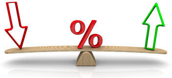 Changes in interest rates. Concept. Red percent sign and arrows on the scales. The scales in the equilibrium position. Financial concept Stock Image