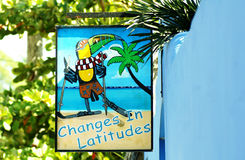 Changes in latitudes, a reminder to tourists of the warmtn in Belize Royalty Free Stock Photography