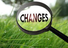 Changes. Magnifying glass with the word changes on grass background. Selective focus Royalty Free Stock Images