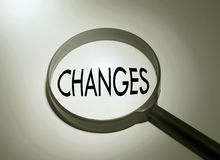 Changes. Magnifying glass with the word changes. Searching changes Royalty Free Stock Photo