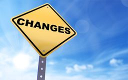 Changes sign. On blue sky background,3d rendered Stock Photo