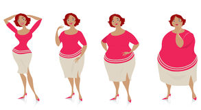Changes of size after diet. Vector illustration of four stages of a slimming lady Royalty Free Illustration