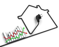 Changes in tariffs for electricity. Concept. Graph changes in electricity tariffs and contour houses made of electrical wire. Financial concept Royalty Free Stock Image