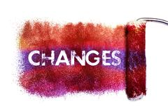 The changes word painting. Color full on white paper by roll painter,isolated Royalty Free Stock Photo