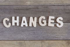 Changes. Word changes written with wood letters over a wooden surface Stock Photography