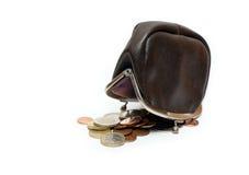Changez la bourse et les euro pièces de monnaie Images libres de droits