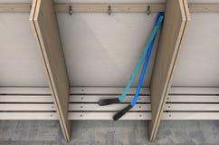 Changez les compartiments de pièce avec des bâtons de hockey illustration stock