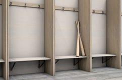 Changez les compartiments de pièce avec la batte de baseball illustration stock
