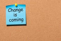 Changez vient en 2018 le texte écrivent sur le message goupillé au panneau de liège Image stock