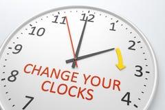 Changez vos horloges Photographie stock libre de droits