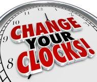 Changez vos horloges réglées Photos stock