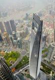 CHANGHAÏ, CHINE - 6 MAI 2017 : La vue aérienne de la place financière du monde de Changhaï dans le secteur Chine de Pudong peut d Photo libre de droits