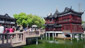 Changhaï, Chine, - mai 2018 Yuyuan, l'étang de Lotus, neuf tournent le pont banque de vidéos